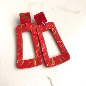 Red clay earrings